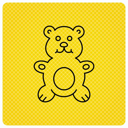 plush: Teddy-bear icon. Baby toy sign. Plush animal symbol. Linear icon on orange background. Vector
