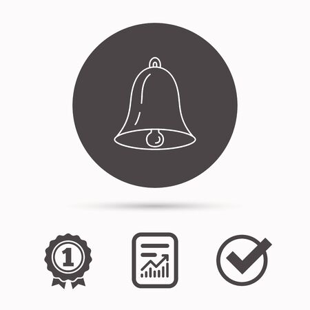 handbell: Bell icon. Sound sign. Alarm handbell symbol. Report document, winner award and tick. Round circle button with icon. Vector