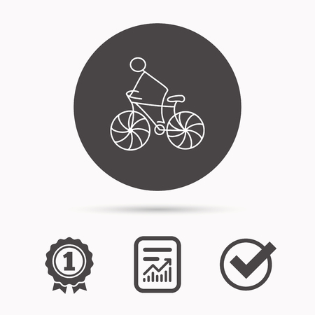 race winner: Biking sport icon. Bicycle race sign. Professional cyclist symbol. Report document, winner award and tick. Round circle button with icon. Vector Illustration
