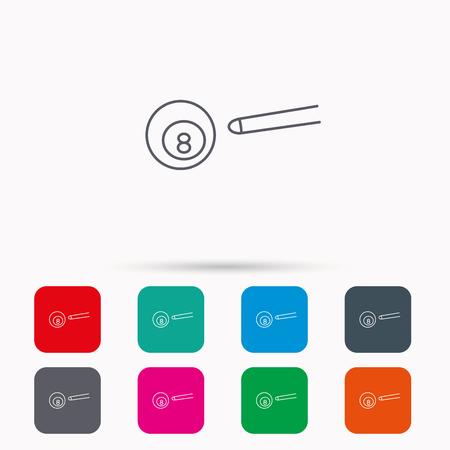 cue sports: Billiard ball icon. Pool or snooker equipment sign. Cue sports symbol. Linear icons in squares on white background. Flat web symbols. Vector Illustration