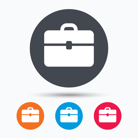 diplomat: Briefcase icon. Diplomat handbag symbol. Business case sign. Colored circle buttons with flat web icon. Vector