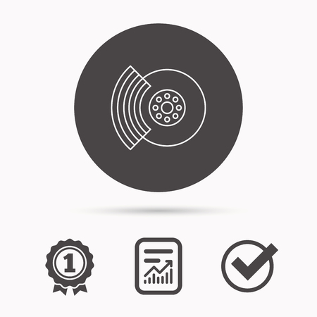 refit: Brakes icon. Auto disk repair sign. Report document, winner award and tick. Round circle button with icon. Vector