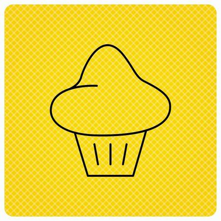 enriched: Brioche icon. Bread bun sign. Bakery symbol. Linear icon on orange background. Vector