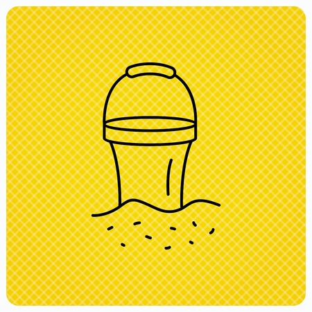 beach game: Bucket in sand icon. Trash bin sign. Child beach game symbol. Linear icon on orange background. Vector