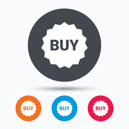 buy icon: Buy icon. Online shopping star symbol. Colored circle buttons with flat web icon. Vector Illustration
