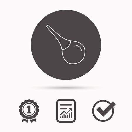 constipation: Medical clyster icon. Enema sign. Report document, winner award and tick. Round circle button with icon. Vector Illustration