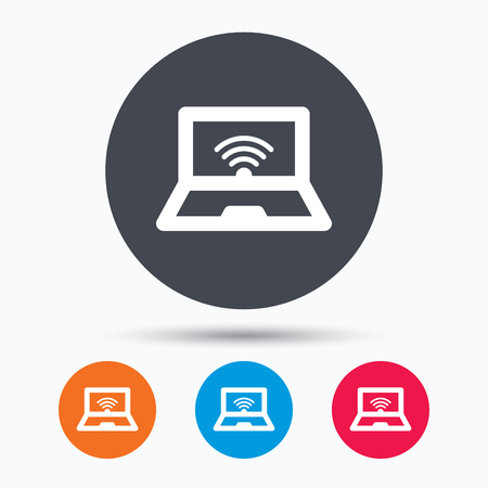 laptop icon: Computer with wifi icon. Notebook or laptop pc symbol. Colored circle buttons with flat web icon. Vector