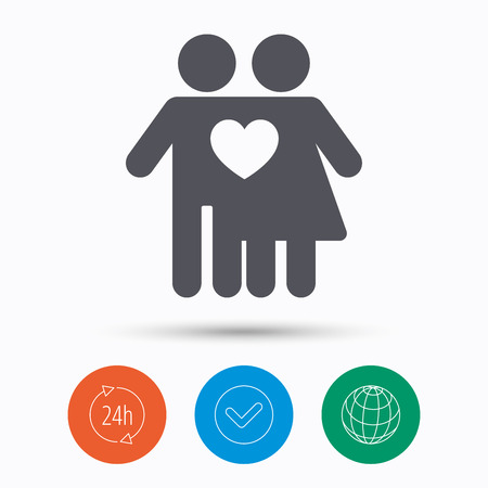 Couple love icon. Traditional young family symbol. Check tick, 24 hours service and internet globe. Linear icons on white background. Vector