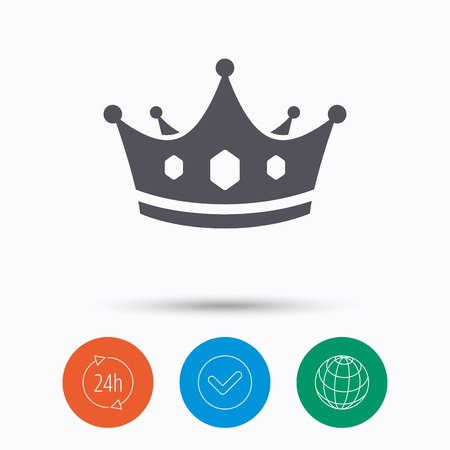 Crown icon. Royal throne leader symbol. Check tick, 24 hours service and internet globe. Linear icons on white background. Vector Illustration