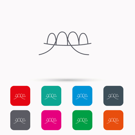 halitosis: Dental floss icon. Teeth cleaning sign. Oral hygiene symbol. Linear icons in squares on white background. Flat web symbols. Vector