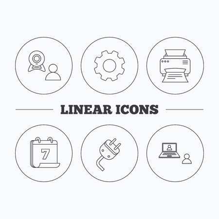 portative: Video chat, printer and electric plug icons. Video conference linear sign. Flat cogwheel and calendar symbols. Linear icons in circle buttons. Vector