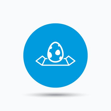 dinosaur egg: Dinosaur egg icon. Location map symbol. Blue circle button with flat web icon. Vector Illustration