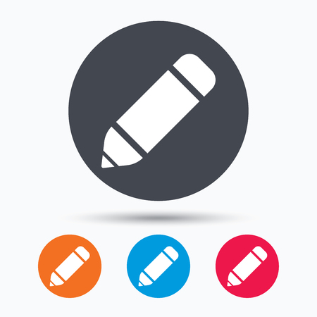 edit icon: Edit icon. Pencil for drawing symbol. Colored circle buttons with flat web icon. Vector Illustration