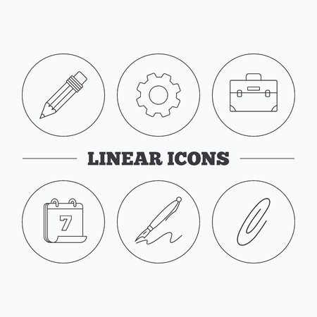 safety circle: Briefcase, pencil and safety pin icons. Pen linear sign. Flat cogwheel and calendar symbols. Linear icons in circle buttons. Vector Illustration