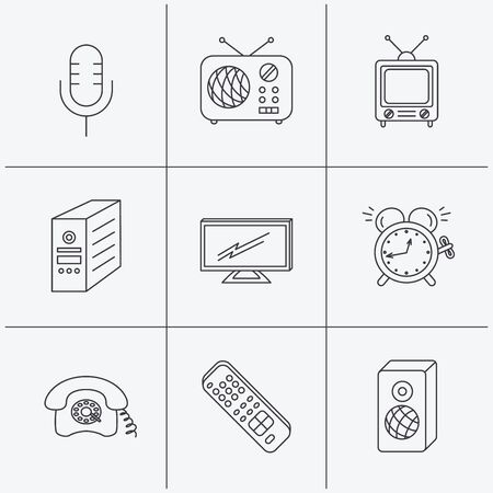 pc case: TV remote, retro phone and radio icons. PC case, microphone and alarm clock linear signs. Linear icons on white background. Vector
