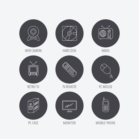 pc case: Web camera, radio and mobile phone icons. Monitor, PC case and TV remote linear signs. Hard disk and PC mouse icons. Linear icons in circle buttons. Flat web symbols. Vector