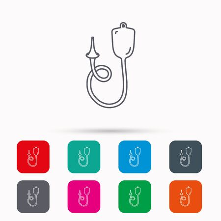 einlauf: Enema icon. Medical clyster sign. Linear icons in squares on white background. Flat web symbols. Vector