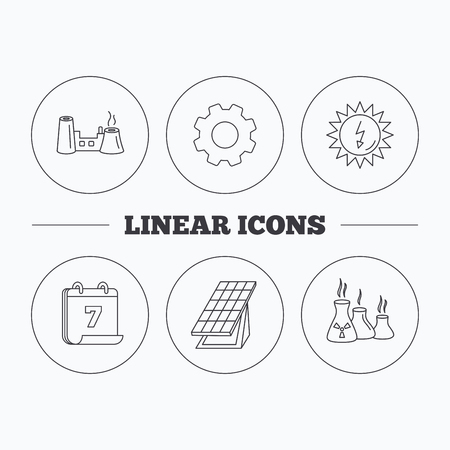 collector: Solar collector energy, factory and industries icons. Solar energy linear signs. Flat cogwheel and calendar symbols. Linear icons in circle buttons. Vector
