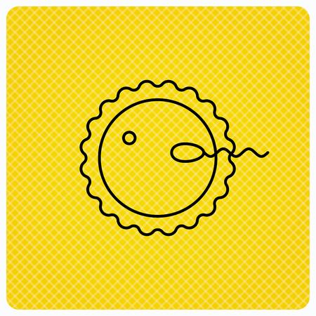spermatozoid: Fertilization icon. Pregnancy sign. Spermatozoid and egg symbol. Linear icon on orange background. Vector Illustration