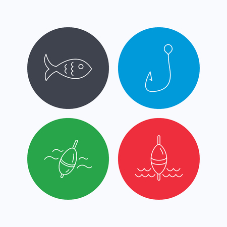 fisheries: Fishing hook and float icons. Fish linear sign. Linear icons on colored buttons. Flat web symbols. Vector