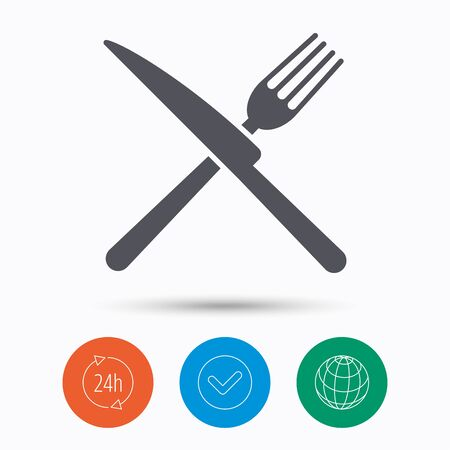 Fork and knife icons. Cutlery symbol. Check tick, 24 hours service and internet globe. Linear icons on white background. Vector