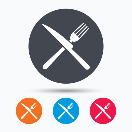 flatwares: Fork and knife icons. Cutlery symbol. Colored circle buttons with flat web icon. Vector Illustration