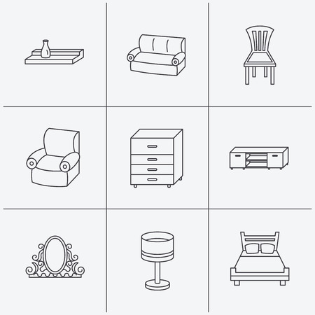 chest wall: Double bed, table lamp and armchair icons. Chair, lamp and vintage mirror linear signs. Wall shelf, sofa and chest of drawers furniture icons. Linear icons on white background. Vector