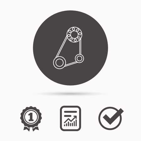 alternator: Timing belt icon. Generator strap sign. Repair service symbol. Report document, winner award and tick. Round circle button with icon. Vector