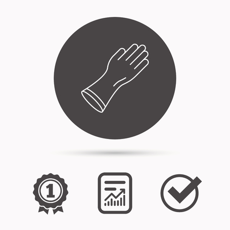 rubber gloves: Rubber gloves icon. Latex hand protection sign. Housework cleaning equipment symbol. Report document, winner award and tick. Round circle button with icon. Vector Illustration