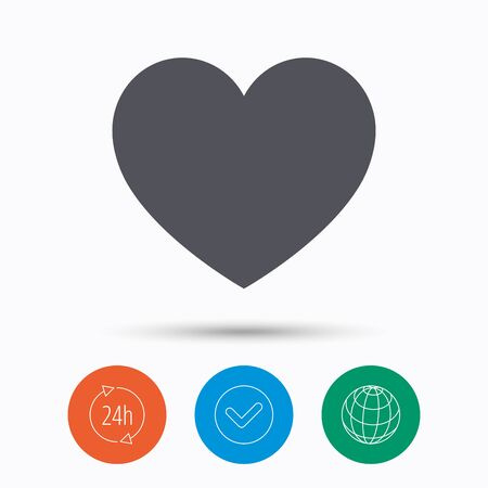 Heart icon. Romantic love symbol. Check tick, 24 hours service and internet globe. Linear icons on white background. Vector