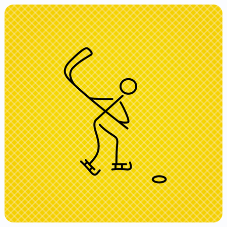 professional sport: Ice hockey icon. Professional sport game sign. Linear icon on orange background. Vector