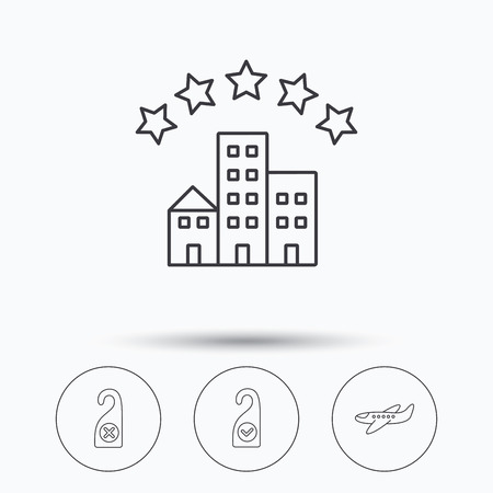 5 door: Hotel, airplane and do not disturb icons. Clean room linear sign. Linear icons in circle buttons. Flat web symbols. Vector
