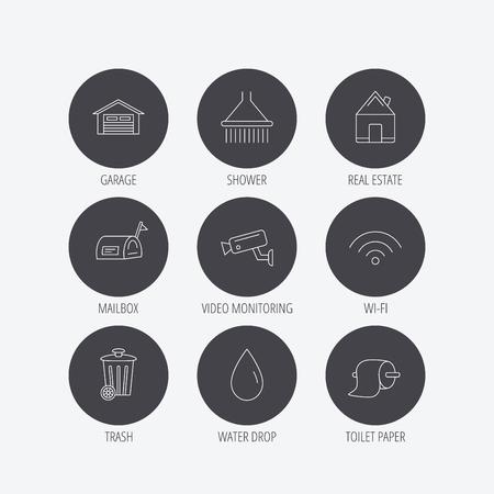 Wifi, video monitoring and real estate icons. Toilet paper, shower and water drop linear signs. Trash, garage flat line icons. Linear icons in circle buttons. Flat web symbols. Vector