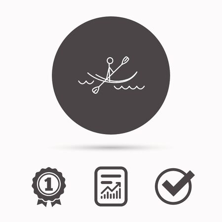 boating: Kayaking on waves icon. Rafting or canoeing sign. Boating sport symbol. Report document, winner award and tick. Round circle button with icon. Vector Illustration