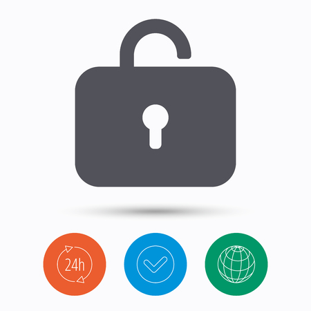 private access: Lock icon. Privacy locker sign. Private access symbol. Check tick, 24 hours service and internet globe. Linear icons on white background. Vector Illustration