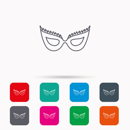 anonymous: Festive mask icon. Masquerade carnival sign. Anonymous symbol. Linear icons in squares on white background. Flat web symbols. Vector