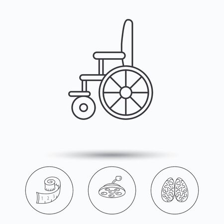 neurosurgery: Wheelchair, neurology and weight loss icons. Surgical lamp linear sign. Linear icons in circle buttons. Flat web symbols. Vector Illustration