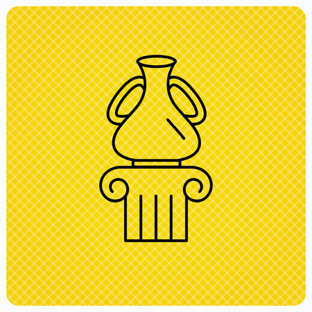 antique vase: Museum icon. Antique vase on pillar sign. Linear icon on orange background. Vector
