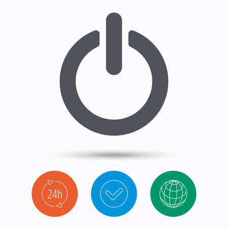 24 off: On, off power icon. Energy switch symbol. Check tick, 24 hours service and internet globe. Linear icons on white background. Vector