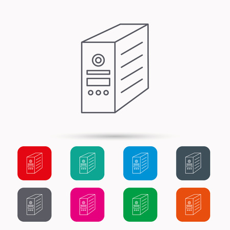 pc case: Computer server icon. PC case or tower sign. Linear icons in squares on white background. Flat web symbols. Vector