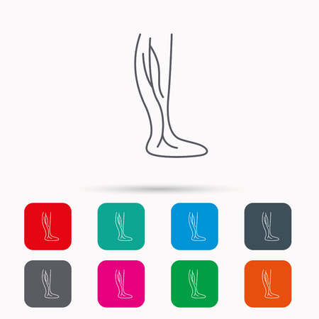 varicose veins: Phlebology icon. Leg veins sign. Varicose or thrombosis symbol. Linear icons in squares on white background. Flat web symbols. Vector