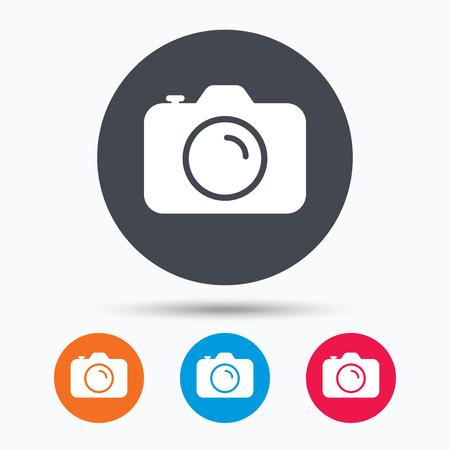 camera symbol: Camera icon. Professional photocamera symbol. Colored circle buttons with flat web icon. Vector