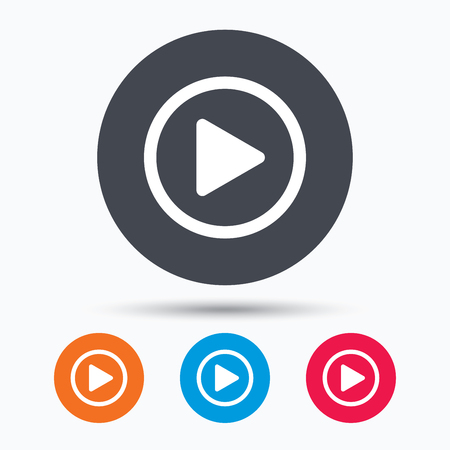 icono de reproducción. símbolo del reproductor de audio o vídeo. botones de círculo de color con el icono de banda plana. Vector