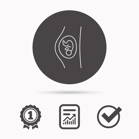 obstetrics: Pregnancy icon. Medical genecology sign. Obstetrics symbol. Report document, winner award and tick. Round circle button with icon. Vector