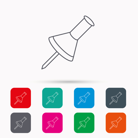 office stationery: Pushpin icon. Pin tool sign. Office stationery symbol. Linear icons in squares on white background. Flat web symbols. Vector