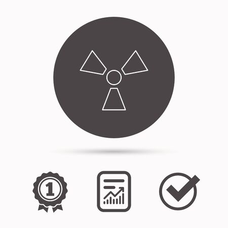 radiological: Radiation icon. Radiology sign. Report document, winner award and tick. Round circle button with icon. Vector Illustration