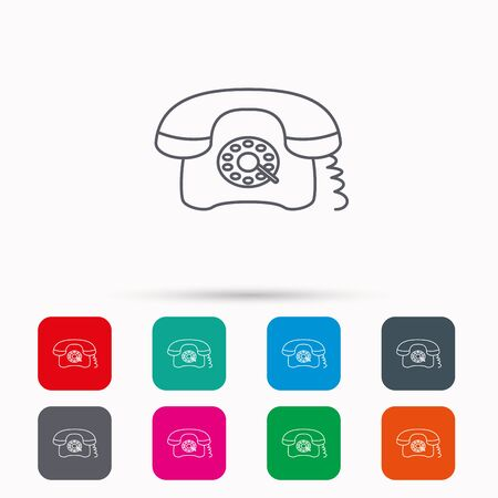 antiquated: Retro phone icon. Old telephone sign. Linear icons in squares on white background. Flat web symbols. Vector
