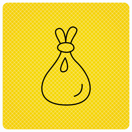 tare: Burlap sack icon. Textile bag sign symbol. Linear icon on orange background. Vector
