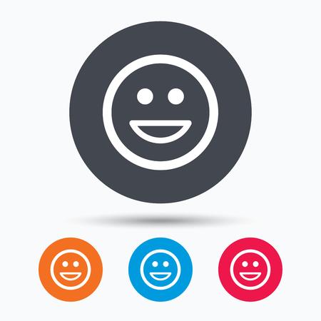 smile icon: Happy smile icon. Smiley laugh emoticon symbol. Colored circle buttons with flat web icon. Vector