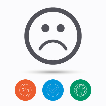 bad service: Sad smiley icon. Bad feedback symbol. Check tick, 24 hours service and internet globe. Linear icons on white background. Vector Illustration